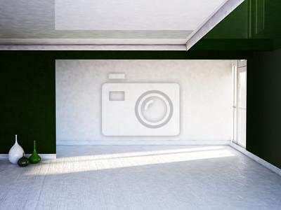 dvě vázy v místnosti, zelené a bílé, 3d