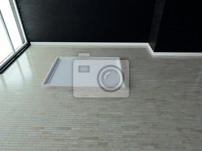 dveře v podlaze, prázdná místnost, 3d vykreslování