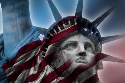 Obraz Dvojité expozice obraz Socha svobody a americké vlajky