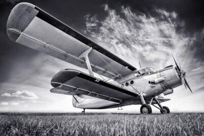 Obraz dvojplošník proti obloze