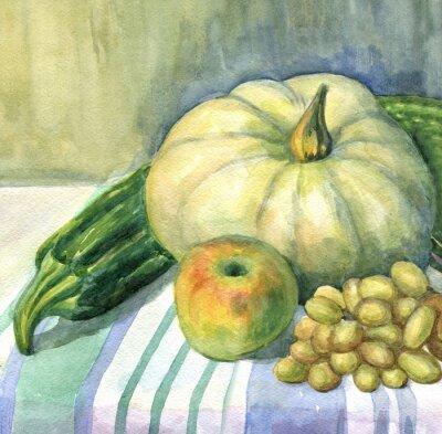 Obraz Dýně, Apple, cuketa, hroznové víno, zátiší. akvarelu