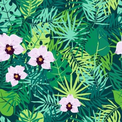Obraz Džungle bezešvé vzorek s tropickými listy a orchidejí.