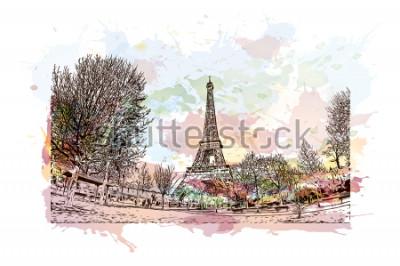 Obraz Eiffelova věž je kovaná železná mříž věž na Champ de Mars v Paříži, Francie. Akvarel splash s ručně tažené skica ilustrace ve vektoru.