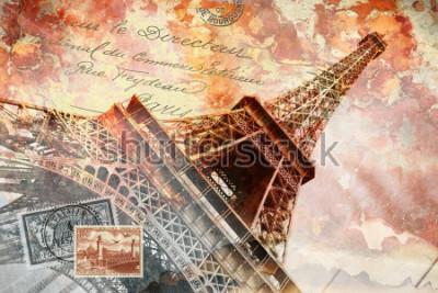 Obraz Eiffelova věž Paříž, abstraktní digitální umění, pohlednice