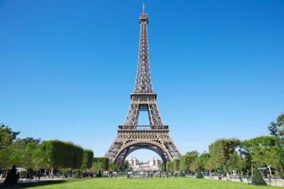 Obraz Eiffelova věž, slunný letní den s modrou oblohu a zelené pole Marsu