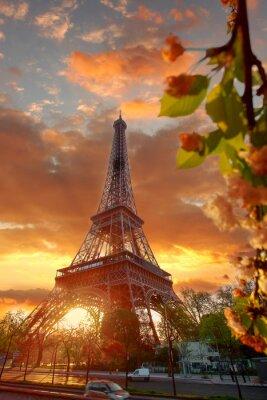 Obraz Eiffelova věž v průběhu krásné jarní ráno v Paříži, Francie