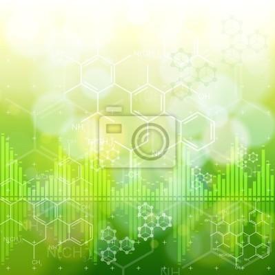 ekologie koncepce: chemické vzorce, digitální vln a zelená boke