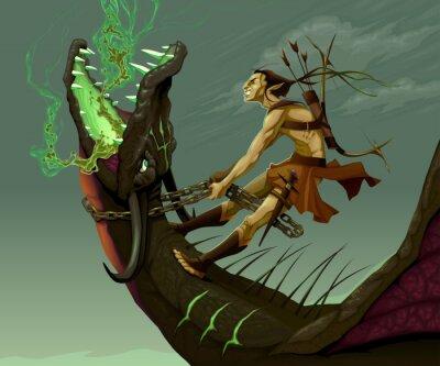 Obraz Elf je jízda na drakovi