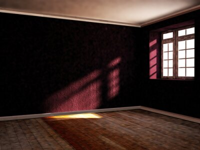 empty room with the window, 3d