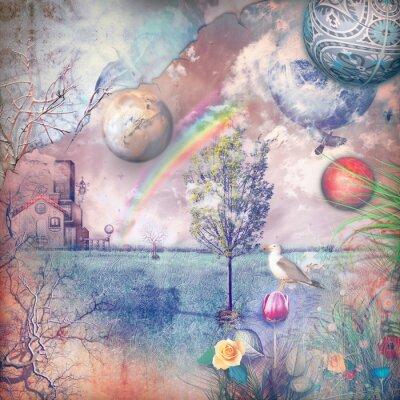 Obraz Enchanted krajina s statku v přírodě.