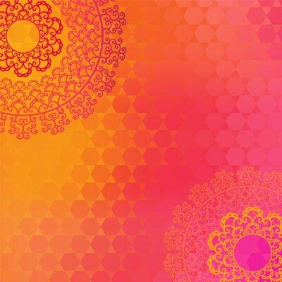 Obraz Etnické a barevné Henna Mandala design, velmi propracovaný a snadno upravitelné
