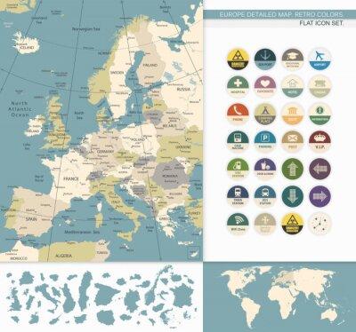 Obraz Europe detailed map.Retro Colors