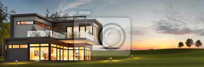 Obraz Evening view of a luxurious modern house