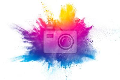 Obraz Explosion duhové barvy prášku na bílém pozadí.