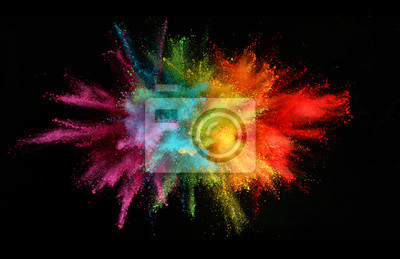 Obraz Explosion of colored powder isolated on black background