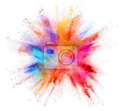Obraz Exploze barevného prášku izolovaných na bílém pozadí