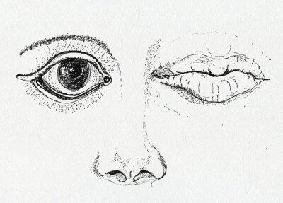 Obraz Face, umění metafora, perokresba na papíře textury