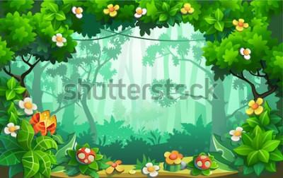 Obraz Fantastický les květin, báječná džungle, tropy. Vektorové pozadí.