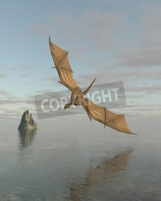 Obraz Fantasy ilustrace draka letícího nízko nad klidné moře za denního světla, 3d digitálně poskytované obrázek
