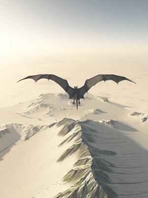 Obraz Fantasy ilustrace šedým draka létání nad sněhem pokryté pohoří, 3d digitálně poskytované ilustrace