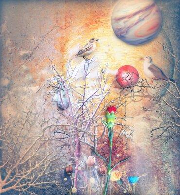 Obraz Fantasy krajiny s Okouzlený strom, ptáků a červený karafiát