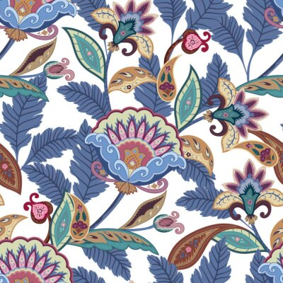 Obraz Fantasy květiny bezešvé Paisley vzor. Květinový ornament, pro tkaniny, balení, tapety