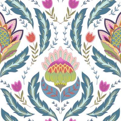 Obraz Fantasy květiny bezešvé vzor. Classic ornament na bílém pozadí