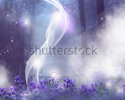 Obraz Fantasy pozadí s fialovými květinami a magickými účinky.