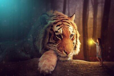 Obraz Fantasy svět - žena a obří tygr