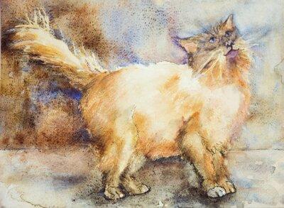 Obraz Fascinován při pohledu dlouhé vlasy kočka. Poklepáváním technika je u okrajů dává změkčující účinek v důsledku drsnosti změněné povrchu papíru.
