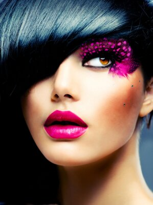 Obraz Fashion Brunette Model Portrait. Účes