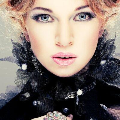 Obraz Fashion girl portrait.Accessorys.Red vlasy.