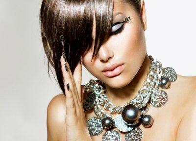 Obraz Fashion Glamour Beauty Girl With stylový účes a make-up