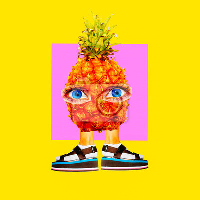 Fashion Minimal art collage.Funny pineapple character