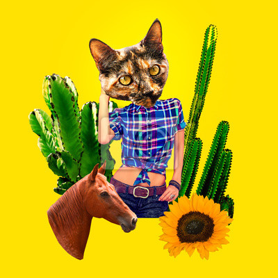 Fashion Minimal art collage.  Kitty Country style