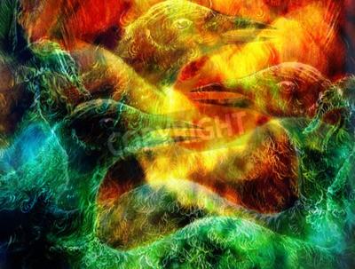 Obraz fénix pták koláž