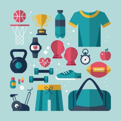 Obraz Fitness a zdravotní ploché ikony set