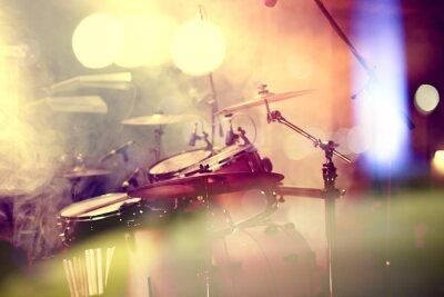 Obraz Fondo de la Música en vivo. Bateria sobre el escenario.Concierto.