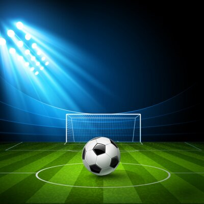 Obraz Fotbalový stadion s fotbalovým míčem. Vektor
