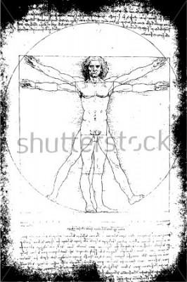 Obraz Fotografie vitruvského muže od Leonarda Da Vinciho z roku 1492 na texturovaném pozadí.