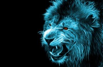 Obraz Fractal digitálním fantasy umění lva na izolované pozadí