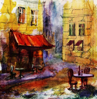 Obraz Francouzský venkovní evropský kavárna malba, grafika kresba v barvě