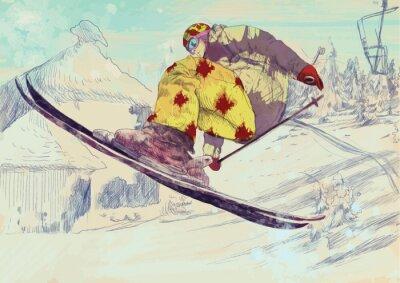 Obraz Free style lyžař, trik (toto je výkres převeden do vektoru)