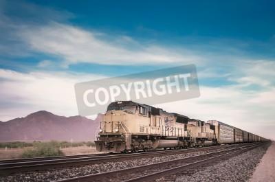 Obraz Freight train running travelling Arizona desert