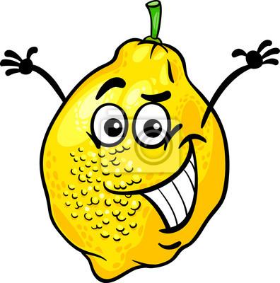 Funny Citron Ovoce Kreslene Ilustrace Obrazy Na Stenu Obrazy