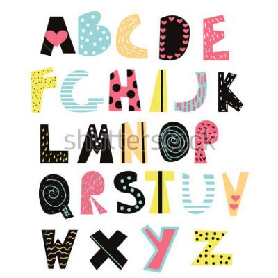 Obraz Funny děti písmo. Roztomilá abeceda pro výuku nebo výzdobu. Vektor kreslené ručně ilustrace.
