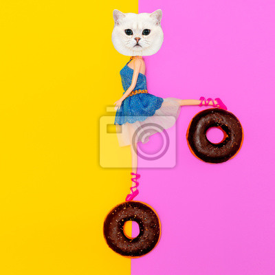 Funny Kitty on donuts.  Flat lay art. Donuts lover concept
