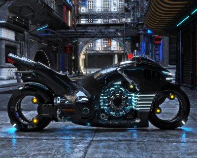 Obraz Futuristický světelný cyklus na displeji. Motocykl je zobrazen s futuristickým městským pozadím.3d vykreslování