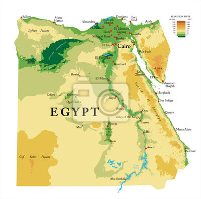 Fyzická mapa Egypta