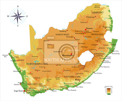 Fyzická mapa Jižní Afriky